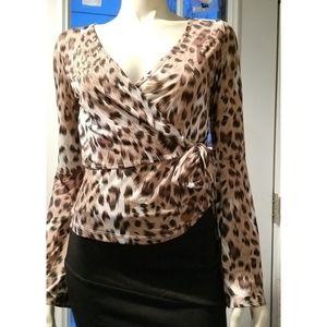 Bebe Cheetah Print Tie Wrap Top, NWT